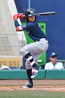 Bo Bichette (5) of the New Hampshire Fisher Cats bats during a game against the Hartford Yard Goats at Dunkin Donuts Park on April 8, 2018 in Hartford, Connecticut.<br /> (Gregory Vasil/Four Seam Images)