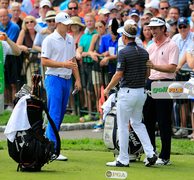Jordan Spieth (USA), Luke Donald (ENG) and Gonzalo Fernandez-Castano (ESP) on the 1st tee to start their match during Thursday's Round 1 of the 95th US PGA Championship 2013 held at Oak Hills Country Club, Rochester, New York.<br /> 8th August 2013.<br /> Picture: Eoin Clarke www.golffile.ie