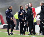 Jose Morais manager of Barnsley shakes hand s with Chris Wilder manager of Sheffield Utd on the final whistle during the championship match at the Oakwell Stadium, Barnsley. Picture date 7th April 2018. Picture credit should read: Simon Bellis/Sportimage