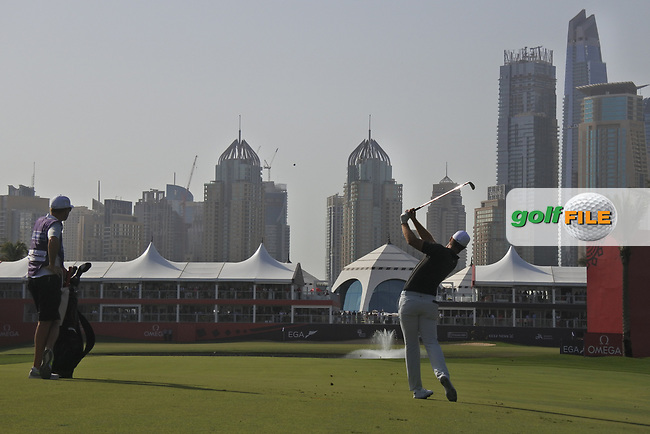 Lucas Bjerregaard (DEN) on the 18th during Round 4 of the Omega Dubai Desert Classic, Emirates Golf Club, Dubai,  United Arab Emirates. 27/01/2019<br /> Picture: Golffile | Thos Caffrey<br /> <br /> <br /> All photo usage must carry mandatory copyright credit (&copy; Golffile | Thos Caffrey)