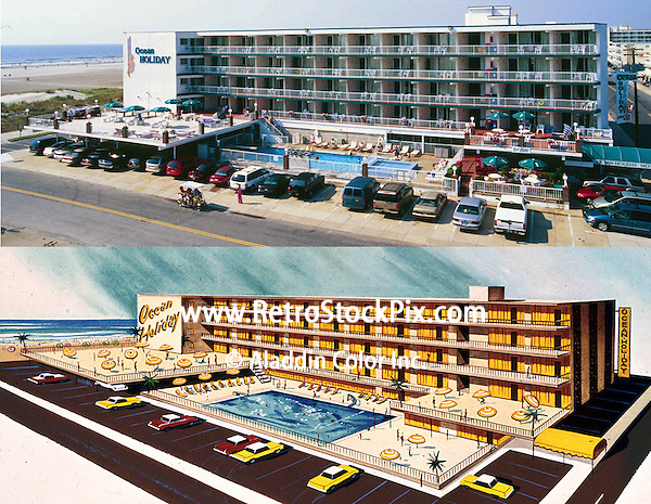 The Ocean Holiday Motel as seen in a pre opening rendering and in 2003.