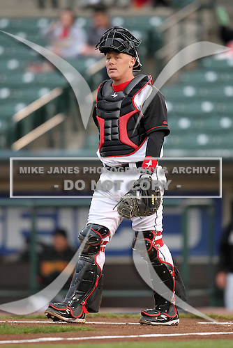 Rochester Red Wings catcher Steve Holm #24 in the field during a game against the Scranton Wilkes-Barre Yankees at Frontier Field on April 12, 2011 in Rochester, New York.  Scranton defeated Rochester 5-3.  Photo By Mike Janes/Four Seam Images