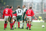 Stan Collymore of Liverpool argues with Colin Cooper of Nottingham Forest - Premier League - Nottingham Forest v Liverpool - City Ground - Nottingham - England - 23rd March 1996 - Picture Simon Bellis/Sportimage