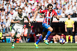 Stefan Savic (r) of Atletico de Madrid battles for the ball with Karim Benzema of Real Madrid during their La Liga match between Real Madrid and Atletico de Madrid at the Santiago Bernabeu Stadium on 08 April 2017 in Madrid, Spain. Photo by Diego Gonzalez Souto / Power Sport Images