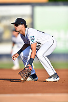 Asheville Tourists first baseman Johnny Cresto (17) on defense against the Lakewood BlueClaws at McCormick Field on August 6, 2019 in Asheville, North Carolina. The Tourists defeated the BlueClaws 5-2. (Tony Farlow/Four Seam Images)