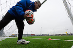 Doncaster Rovers Belles 1 Chelsea Ladies 4, 20/03/2016. Keepmoat Stadium, Womens FA Cup. Doncaster Rovers Belles Head Coach Glenn Harris retrieves balls during a training session on the astroturf pitch outside The Keepmoat Stadium. Photo by Paul Thompson.
