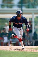 GCL Red Sox Fabian Andrade (44) runs to first base during a Gulf Coast League game against the GCL Pirates on August 1, 2019 at Pirate City in Bradenton, Florida.  GCL Red Sox defeated the GCL Pirates 11-3.  (Mike Janes/Four Seam Images)