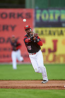 Batavia Muckdogs shortstop Samuel Castro (25) throws to first during a game against the Hudson Valley Renegades on August 1, 2016 at Dwyer Stadium in Batavia, New York.  Hudson Valley defeated Batavia 5-1. (Mike Janes/Four Seam Images)