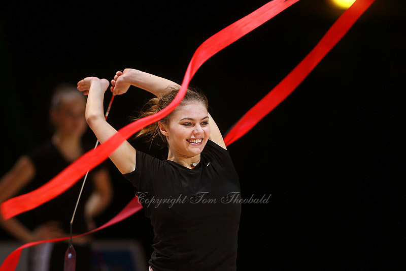 Alina Kabaeva of Russia smiles during training with ribbon before All-Around competition at 2006 Thiais Grand Prix in Paris, France on March 25, 2006.  (Photo by Tom Theobald)<br />