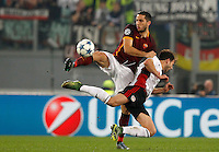 Calcio, Champions League, Gruppo E: Roma vs Bayer Leverkusen. Roma, stadio Olimpico, 4 novembre 2015.<br /> Roma's Kostas Manolas, left, and Bayer Leverkusen's Admir Mehmedi fight for the ball during a Champions League, Group E football match between Roma and Bayer Leverkusen, at Rome's Olympic stadium, 4 November 2015.<br /> UPDATE IMAGES PRESS/Riccardo De Luca