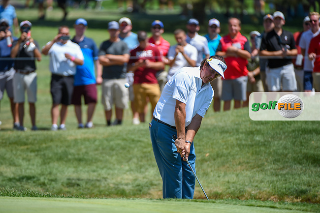 Phil Mickelson (USA) chips on to 7 during 3rd round of the World Golf Championships - Bridgestone Invitational, at the Firestone Country Club, Akron, Ohio. 8/4/2018.<br /> Picture: Golffile | Ken Murray<br /> <br /> <br /> All photo usage must carry mandatory copyright credit (© Golffile | Ken Murray)