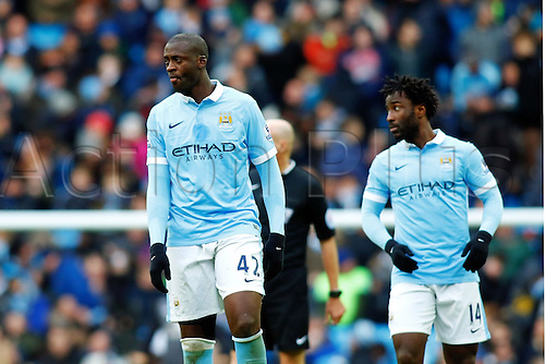 05.03.2016. The Etihad, Manchester, England. Barclays Premier League. Manchester City versus Aston Villa. Yaya Toure of Manchester City, the scorer of his teams first goal