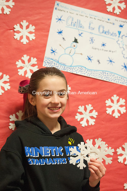 BETHLEHEM, CT-31 January 2014-013114EC06-   Victoria Canonseo is a fifth grader and president of the student council at Bethlehem Elementary School. After hearing about an acquaintance who had a serious health issue, she enlisted other members to sell snowflakes to help. The donations will go to Chelsea Wheeler, a 10-year-old Oxford girl who is unable to eat solid foods. Wheeler has a rare condition that prevents her instestines from functioning properly. In one week the student council raised about $450 selling the snowflakes. Erin Covey Republican-American