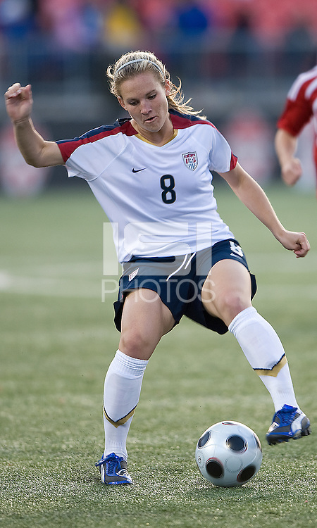 Amy Rodriguez. The US Women's National Team defeated the Canadian Women's National Team, 4-0, at BMO Field in Toronto during an international friendly soccer match on May 25, 2009.