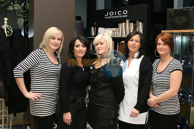Aine Brady, Pamela Curran, Sarah Smith, Bernie Gallagher and Gillian Bradley of Renaissance Hair and Beauty...Photo NEWSFILE/Jenny Matthews.(Photo credit should read Jenny Matthews/NEWSFILE)....This Picture has been sent you under the condtions enclosed by:.Newsfile Ltd..The Studio,.Millmount Abbey,.Drogheda,.Co Meath..Ireland..Tel: +353(0)41-9871240.Fax: +353(0)41-9871260.GSM: +353(0)86-2500958.email: pictures@newsfile.ie.www.newsfile.ie.FTP: 193.120.102.198.