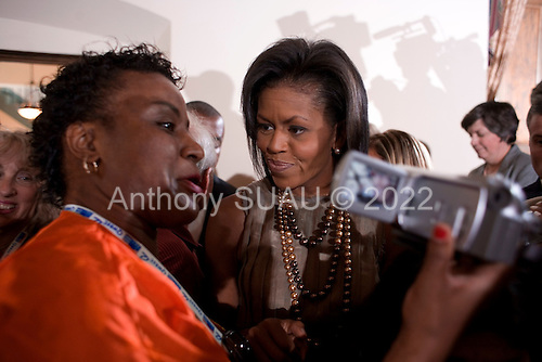 Denver, Colorado<br /> August 26, 2008<br /> <br /> Michelle Obama and Sen. Joe Biden, with wife Jill, address a crowd at the Women's Economic Roundtable at the Colfax Events Center.
