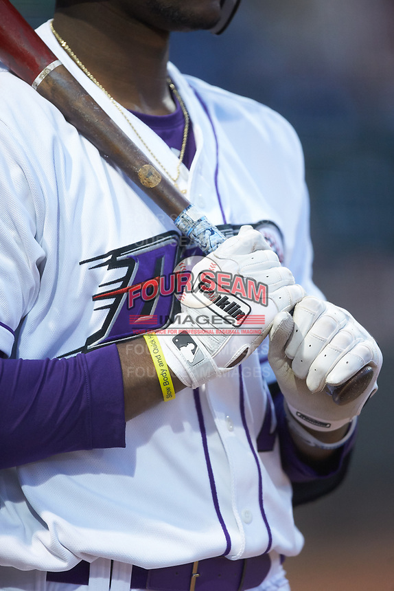 A close-up of the Franklin brand batting gloves worn by Winston-Salem Dash designated hitter Micker Adolfo (27) during the game against the Salem Red Sox at BB&T Ballpark on April 20, 2018 in Winston-Salem, North Carolina.  The Red Sox defeated the Dash 10-3.  (Brian Westerholt/Four Seam Images)