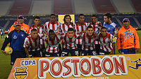 BARRANQUIILLA -COLOMBIA-08-10-2014. Jugadores de Atlético Junior posan para una foto previo al partido de vuelta con Valledupar FC por los cuartos de final de la Copa Postobon 2014 jugado en el estadio Metropolitano Roberto Meléndez de la ciudad de Barranquilla./ Players of Atletico Junior pose to a photo prior a matcha against Valledupar FC for the second leg match for the finals quarters of the Postobon Cup 2014 played at Metropolitano Roberto Melendez stadium in Barranquilla city.  Photo: VizzorImage/Alfonso Cervantes/STR