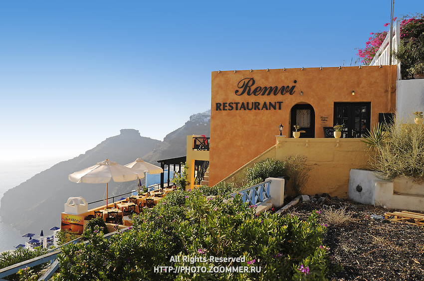 Seaside Remvi restaurant in Firostefani Santorini with the scenic view to caldera and sea
