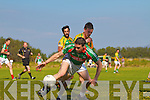 St Michaels Foilmores Adrian O'Connell is brought to the ground by this harsh tackle by Finuges Michael Stackpoole.
