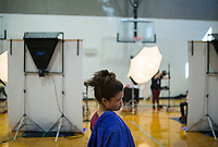 NWA Democrat-Gazette/Charlie Kaijo Neydi Gonzalez, 14, of Springdale prepares to have her picture taken on Monday, October 9, 2017 at George Junior High School in Springdale. They held their picture day on Monday