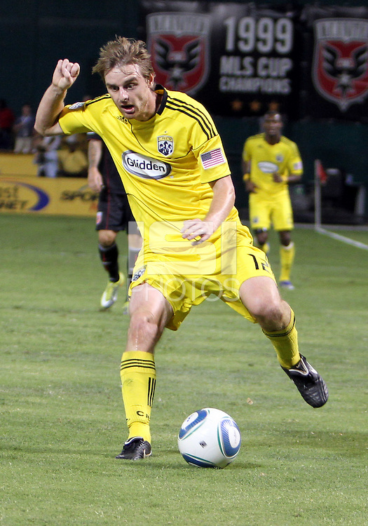 Eddie Gaven #12 of the Columbus Crew during an MLS match against D.C. United at RFK Stadium on September 4 2010, in Washington DC. Columbus won 1-0.