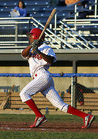 June 30, 2003:  Outfielder Javon Moran of the Batavia Muckdogs, Class-A affiliate of the Philadelphia Phillies, during a NY-Penn League game at Dwyer Stadium in Batavia, NY.  Photo by:  Mike Janes/Four Seam Images