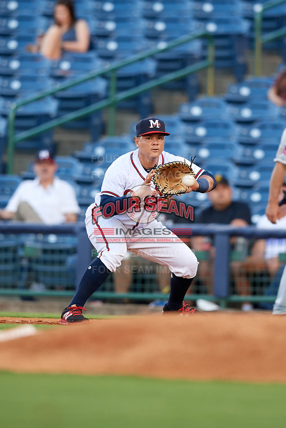 Mississippi Braves first baseman Jonathan Morales (9) receives a throw during a game against the Mobile BayBears on May 7, 2018 at Trustmark park in Pearl, Mississippi.  Mobile defeated Mississippi 5-0.  (Mike Janes/Four Seam Images)