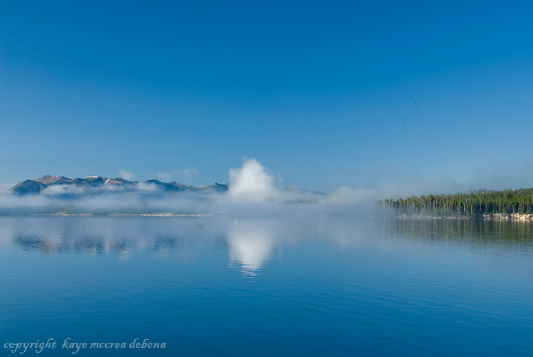 Early Morn Mist on Mt. Doane and Lake Yellowstone