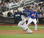 Masahiro Tanaka (Yankees), Lucas Duda (Mets),<br /> MAY 14, 2014 - MLB :<br /> Masahiro Tanaka of the New York Yankees runs to second base in the ninth inning during the Major League Baseball game against the New York Mets at Citi Field in Flushing, New York, United States. (Photo by AFLO)