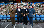 Ally McCoist greets members of the armed forces at Ibrox before the match