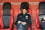 14.04.2018, BayArena, Leverkusen , GER, 1.FBL., Bayer 04 Leverkusen vs. Eintracht Frankfurt<br /> im Bild / picture shows: <br /> Bruno H&uuml;bner / Huebner Sportdirektor  (Eintracht Frankfurt), arbeitet mit seinem Handy <br /> <br /> <br /> Foto &copy; nordphoto / Meuter