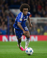 Goalscorer Willian of Chelsea in action during the UEFA Champions League match between Chelsea and Maccabi Tel Aviv at Stamford Bridge, London, England on 16 September 2015. Photo by Andy Rowland.