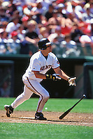 SAN FRANCISCO, CA - J.T. Snow of the San Francisco Giants bats during a game against the Cincinnati Reds at Candlestick Park in San Francisco, California on July 25, 1999. (Photo by Brad Mangin)