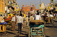 India. Delhi. Chandni Chauk. The crowded street that runs from old Delhi to the Red Fort in the distance..