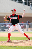 June 22nd 2008:  Pitcher George Brown (36) of the Batavia Muckdogs, Class-A affiliate of the St. Louis Cardinals, during a game at Dwyer Stadium in Batavia, NY.  Photo by:  Mike Janes/Four Seam Images