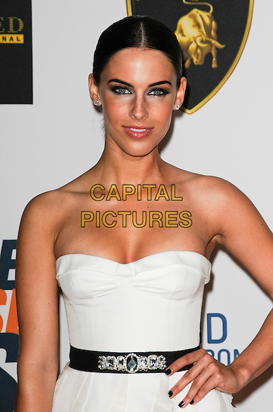 JESSICA LOWNDES.Arriving at The 17th Annual Race to Erase MS at the Hyatt Regency Century Plaza Hotel in Century City, California, USA, May 7th, 2010..half length strapless black white dress hand on hip waistband hair up make-up eyeliner nails nail polish varnish .CAP/ROT.©Lee Roth/Capital Pictures