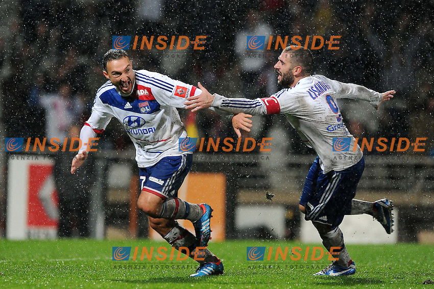 joie de Steed Malbranque - Lisandro Lopez (Lyon) .Francia Ligue 1.Football Calcio 2012/2013.Lyon vs Bastia.Foto Panoramic / Insidefoto .ITALY ONLY..