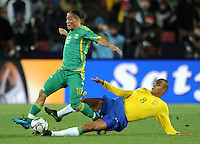 Steven Pienaar of South Africa and Gilberto Silva of Brazil. Brazil defeated South Africa 1-0 during the semi-finals of the FIFA Confederations Cup at Ellis Park Stadium in Johannesburg, South Africa on June 25, 2009..