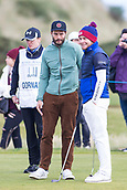 5th October 2017, The Old Course, St Andrews, Scotland; Alfred Dunhill Links Championship, first round; Jamie Dornan on the edge of the green with Tyrrell Hatton