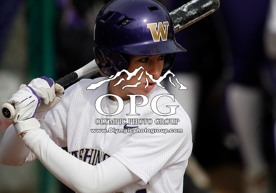 14 March 2010:  Washington Huskies #14 Jenna Clifton sets up in the batters box against Seattle University. Washington defeated Seattle University 8-3 at Husky Softball Stadium in Seattle, WA.