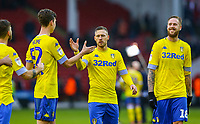 Leeds United's Barry Douglas celebrates with Aapo Halme after the match<br /> <br /> Photographer Alex Dodd/CameraSport<br /> <br /> The EFL Sky Bet Championship - Sheffield United v Leeds United - Saturday 1st December 2018 - Bramall Lane - Sheffield<br /> <br /> World Copyright &copy; 2018 CameraSport. All rights reserved. 43 Linden Ave. Countesthorpe. Leicester. England. LE8 5PG - Tel: +44 (0) 116 277 4147 - admin@camerasport.com - www.camerasport.com