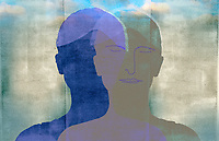 Double silhouette of woman meditating