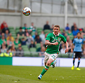 June 4th 2017, Aviva Stadium, Dublin, Ireland; International football friendly, Republic of Ireland versus Uruguay; Jonny Hayes chases after the ball for Republic of Ireland