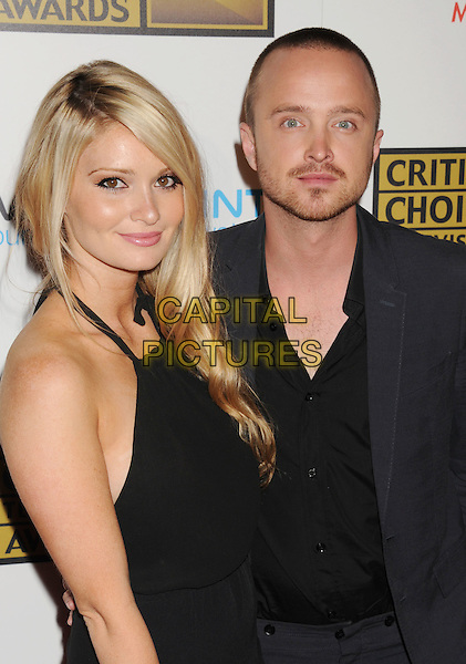 Lauren Parsekian & Aaron Paul.The 2nd Annual Critics' Choice Television Awards held at The Beverly Hilton in Beverly Hills, California, USA..June 18th, 2012.half length black dress  suit shirt couple stubble facial hair.CAP/ROT/TM.©Tony Michaels/Roth Stock/Capital Pictures