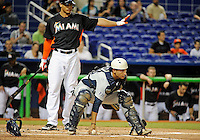 Florida International University catcher Iosmet Leon (13) plays against the Miami Marlins, which won the game 5-1 on March 7, 2012 at Miami, Florida. .