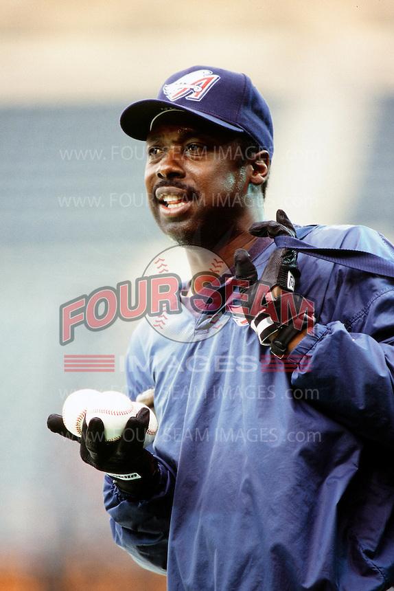 Anaheim Angels coach George Hendrix during a game circa 1999 at Angel Stadium in Anaheim, California. (Larry Goren/Four Seam Images)