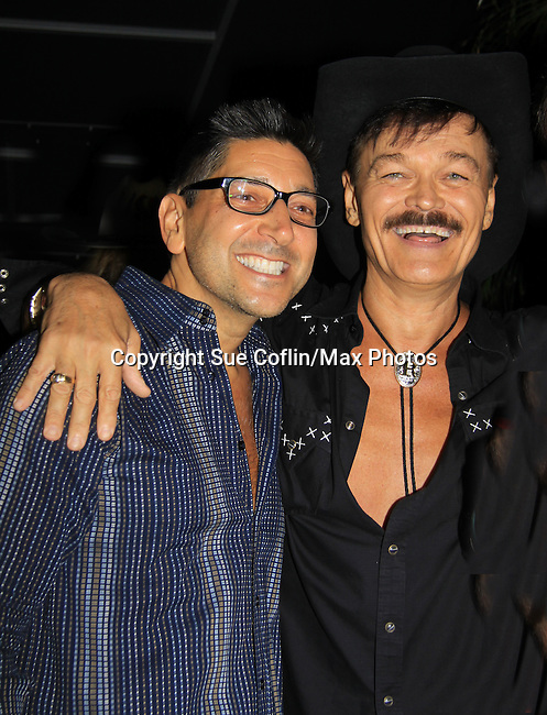 Randy Jones (Village People) and husband Will Grega celebrate their marriage (this morning September 13, 2013) with a celebration at the 13th Annual Kings & Cowboys at DL in New York City, New York. Randy is also celebrating his birthday. Also there were Randy's mom Elaine and Will's mom Marge. Actor Keith Collins was there. (Photo by Sue Coflin/Max Photos)