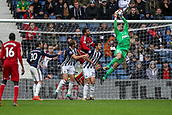 30th September 2017, The Hawthorns, West Bromwich, England; EPL Premier League football, West Bromwich Albion versus Watford; Ben Foster of West Bromwich Albion jumps high and collects the ball safely