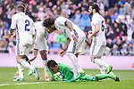 Real Madrid's Daniel Carvajal, Carlos Henrique Casemiro, Marcelo, Nacho Fernandez and Keylor Navas during La Liga match between Real Madrid and Valencia CF at Santiago Bernabeu Stadium in Madrid, April 29, 2017. Spain.<br /> (ALTERPHOTOS/BorjaB.Hojas)